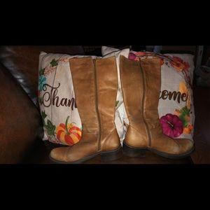Cognac color leather boots